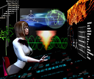 Illustration of Lisa in control room, she is sitting at a console with a large screen in front of her and various radout screens are seen to her left.