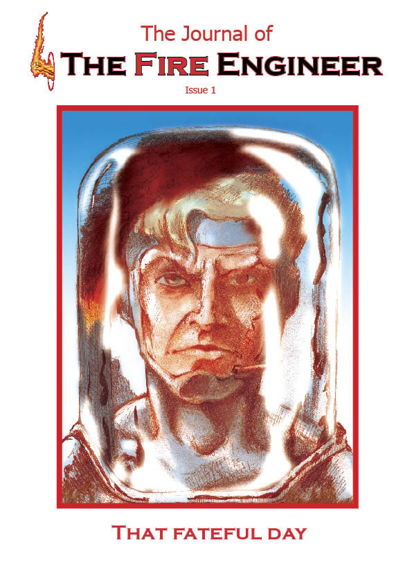 Picture of issue 1 cover showing close p of fire engineers face with world trade centre reflected in his transparent helmet