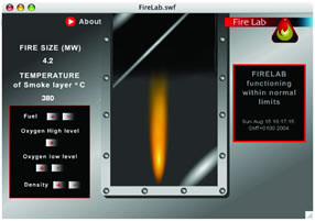 Illustration of the firelab screen. A fire resistaig glass screen shields the user from the fire affects