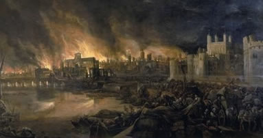 Painting of the Great fire of London by an unknown artist.