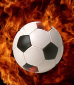 image of soccer ball on fire